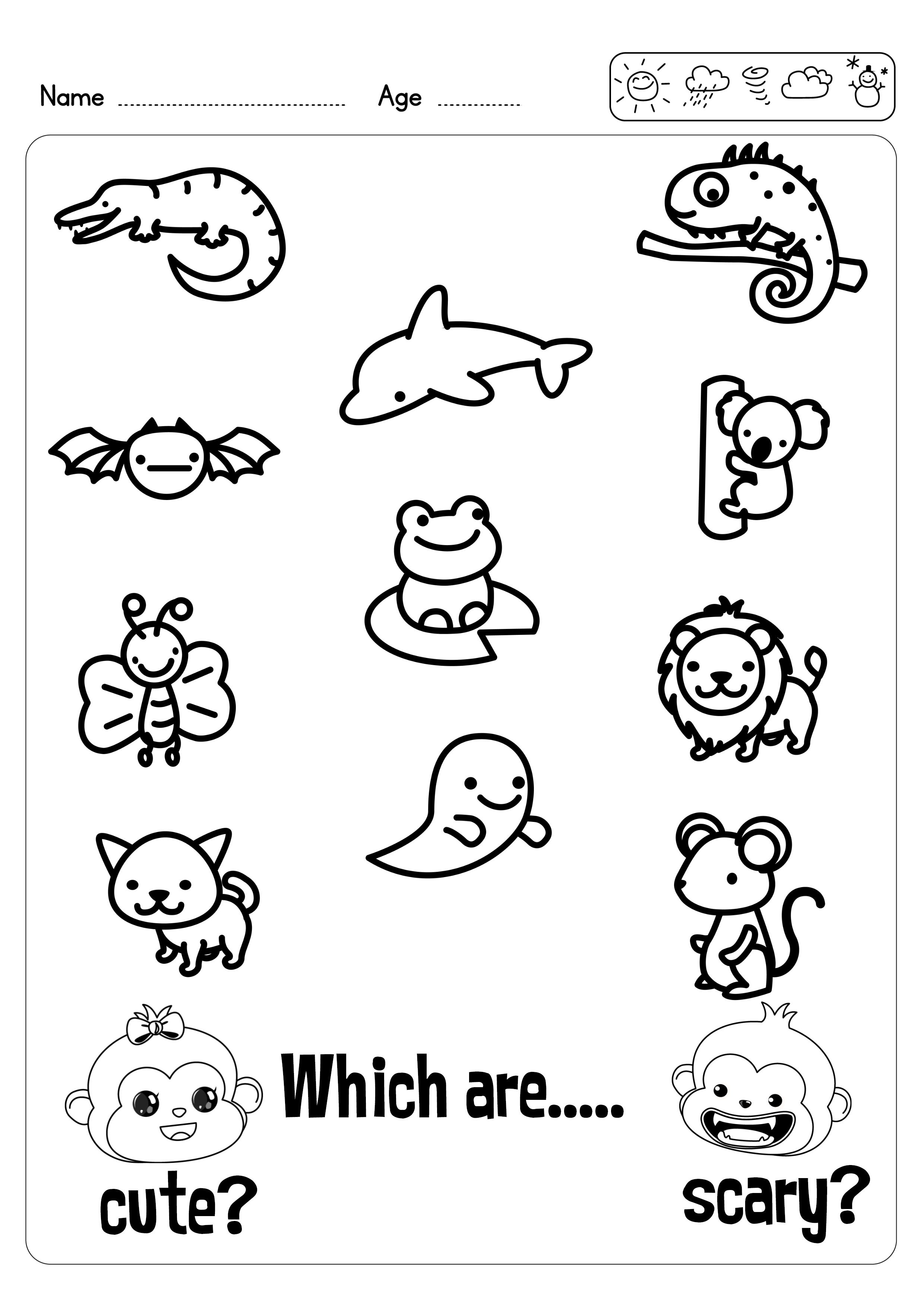 2 Free Cute Or Scary Worksheets