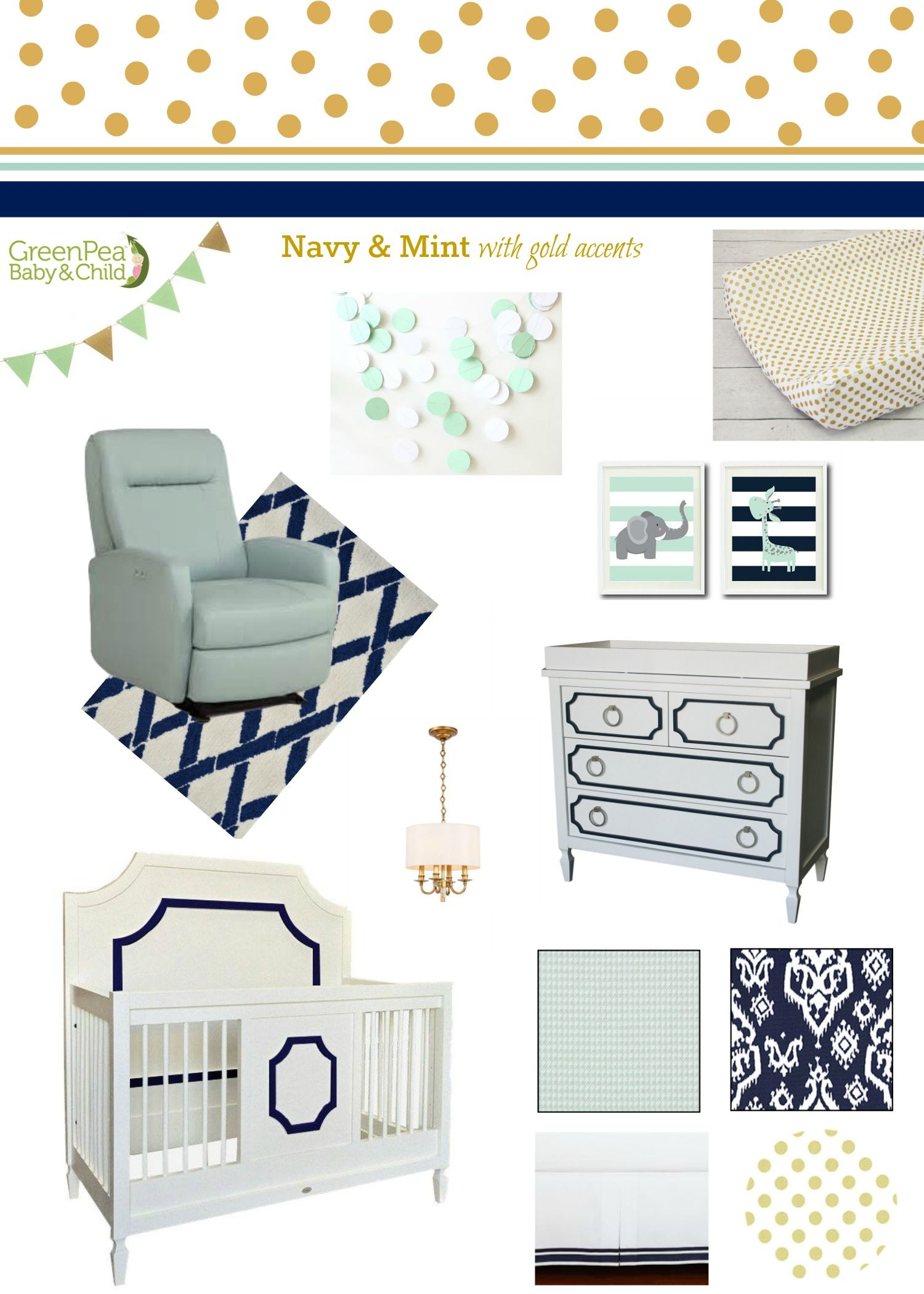We Are Sharing Navy And Mint Nursery Design Ideas To