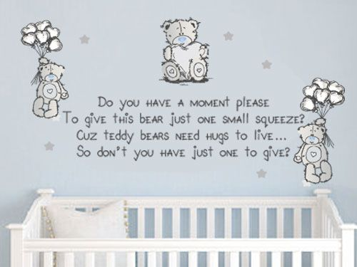 Tatty Teddy Cute Wall Quote Vinyl Decal Sticker Baby Kids Wall