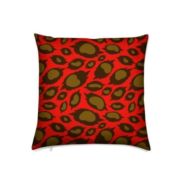 The African Leopard True Red Cushions ❤ liked on Polyvore featuring home, home decor, throw pillows, red accent pillows, red home accessories, red throw pillows, bronze throw pillows and bronze home decor