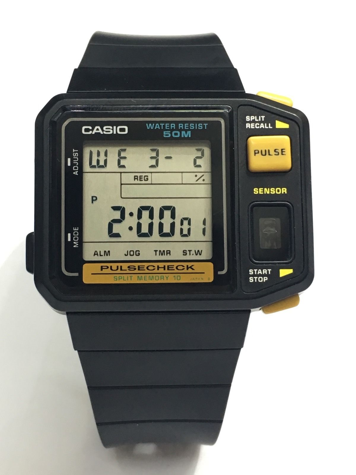 30b21beb6a3 rare vintage casio JP-100W Pulse Check Watch Made In Japan HTF New ...