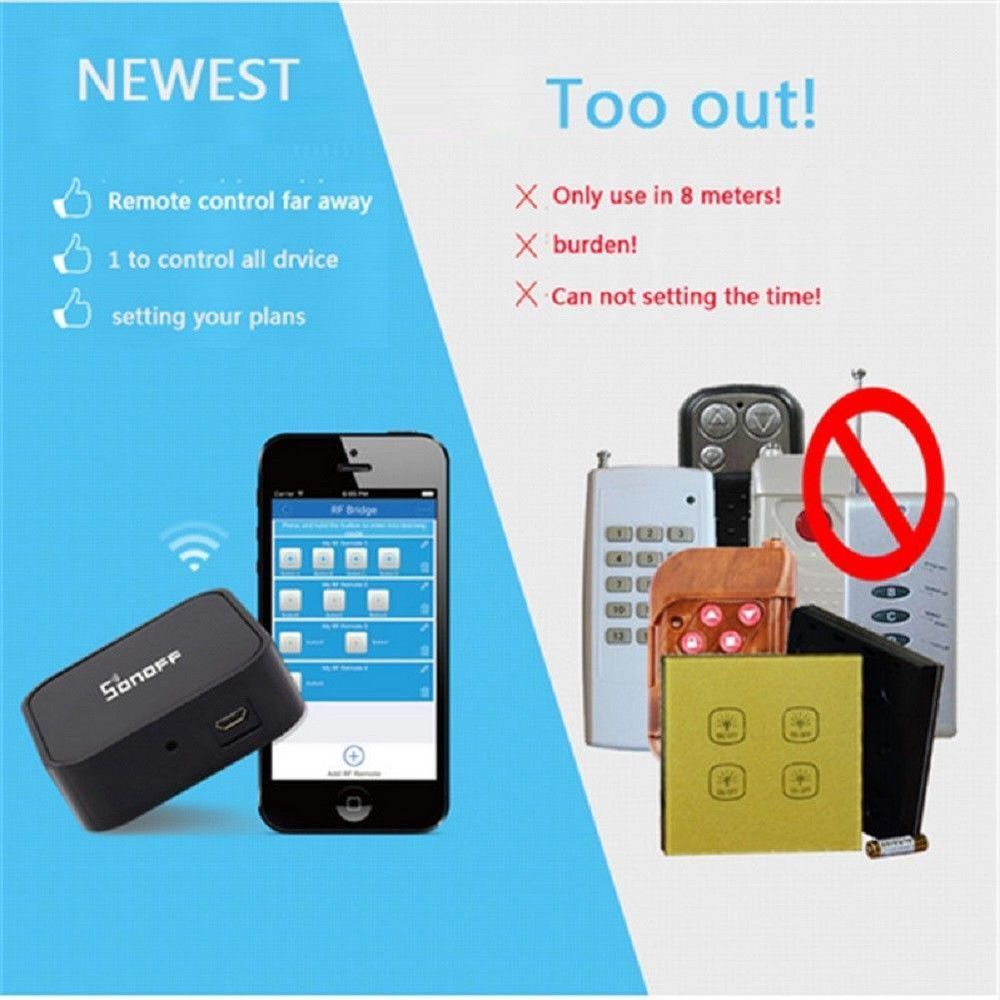 Sonoff Rf Bridge Wifi 433mhz Switch Replacement Remote Controller For Smart Home