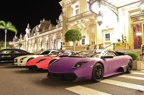 Luxury Cars This Is At The Monte Carlo Casino In Monaco Sports Cars Luxury Purple Car Luxury Cars
