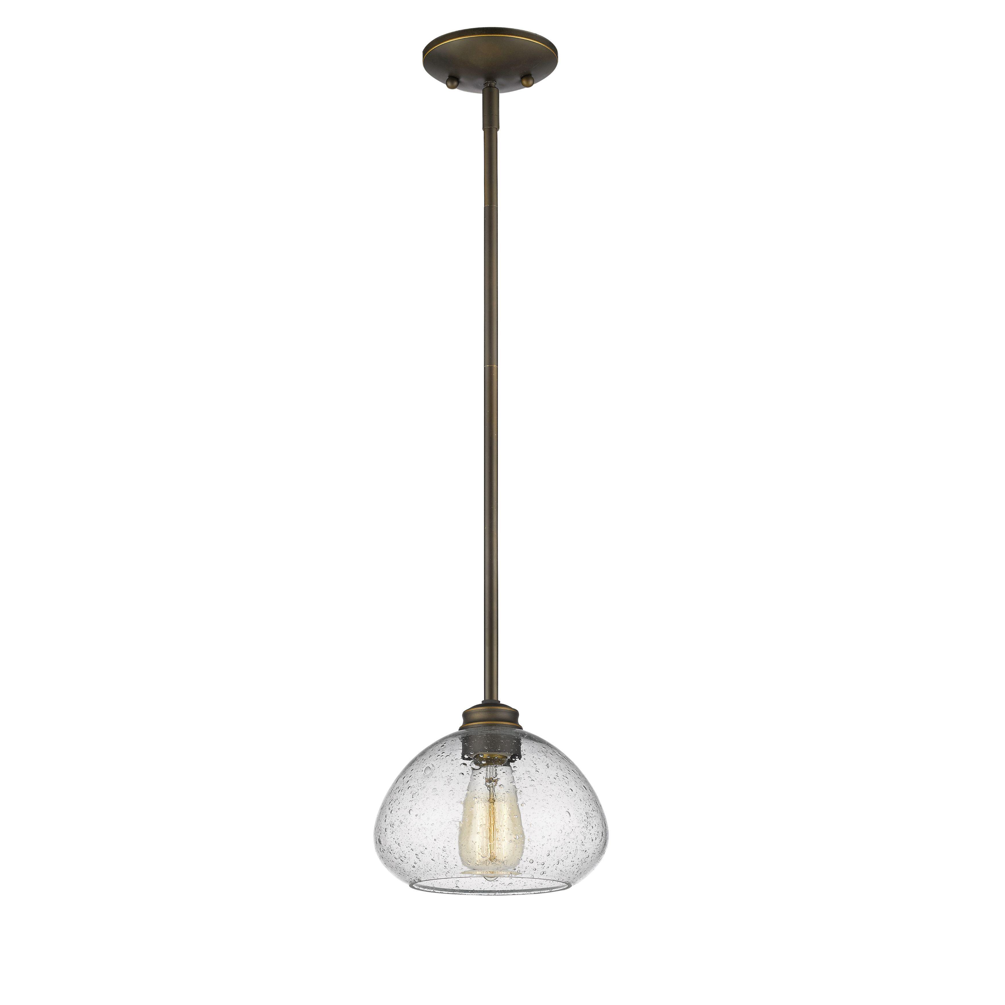 Z-Lite Amon 1-light Mini Pendant in Olde Bronze (Lights) (Glass)