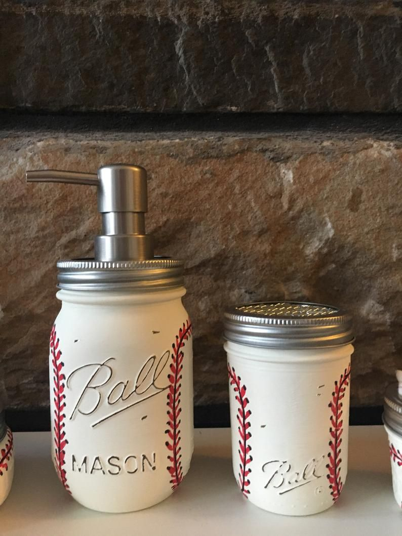 Bathroom Baseball Mason Jar Set, Baseball Soap Dispenser, Baseball Toothbrush holder, Rustic Decor, Bathroom Set #masonjarbathroom