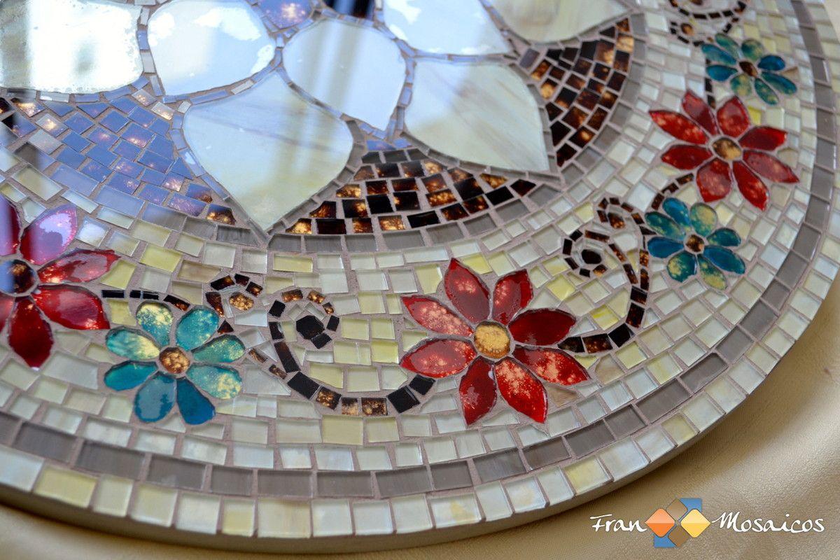 Tampo Giratorio Floral 50cm Mosaico Mosaicos Arte Em Mosaico