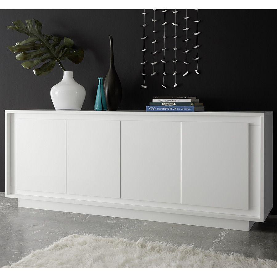 Bahut blanc laqué mat design NEVADA | Buffet - Bahut - Enfilade ...