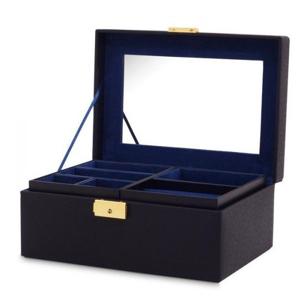 Allurez Womens Faux Leather Small Jewelry Box w Mirror Lock 2