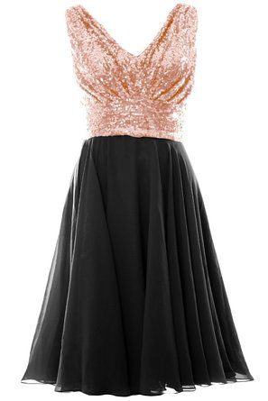MACloth Women V Neck Sequin Chiffon Short Bridesmaid Dress Formal Evening  Gown >>> Don't get left behind, see this great product : black dress