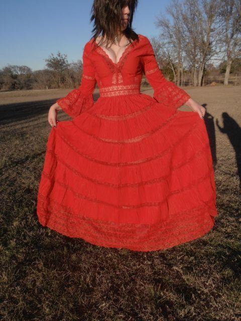 Popular Vintage Mexican Wedding Dress Red wedding dress Handmade Boho Dress Lace by tjmccarty
