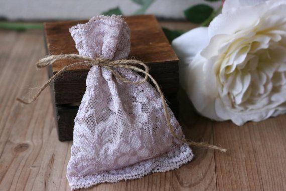 LaCe Wedding favor bags, SoFt LaVeNdeR Lace, rustic wedding favor, vintage style wedding favor, lace favor bags, baby shower favor bags