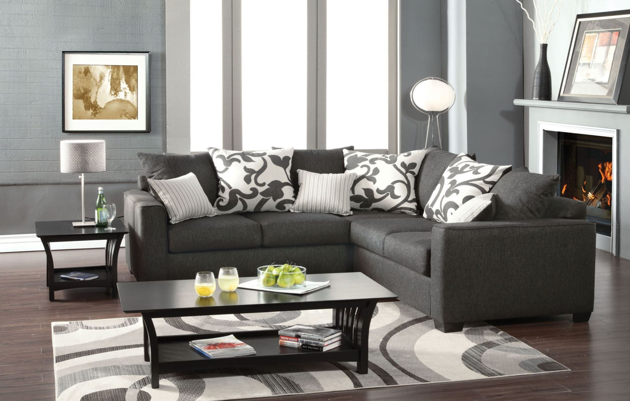 Cranbrook Charcoal Sectional Sm3015 Pk Furniture Of Ame