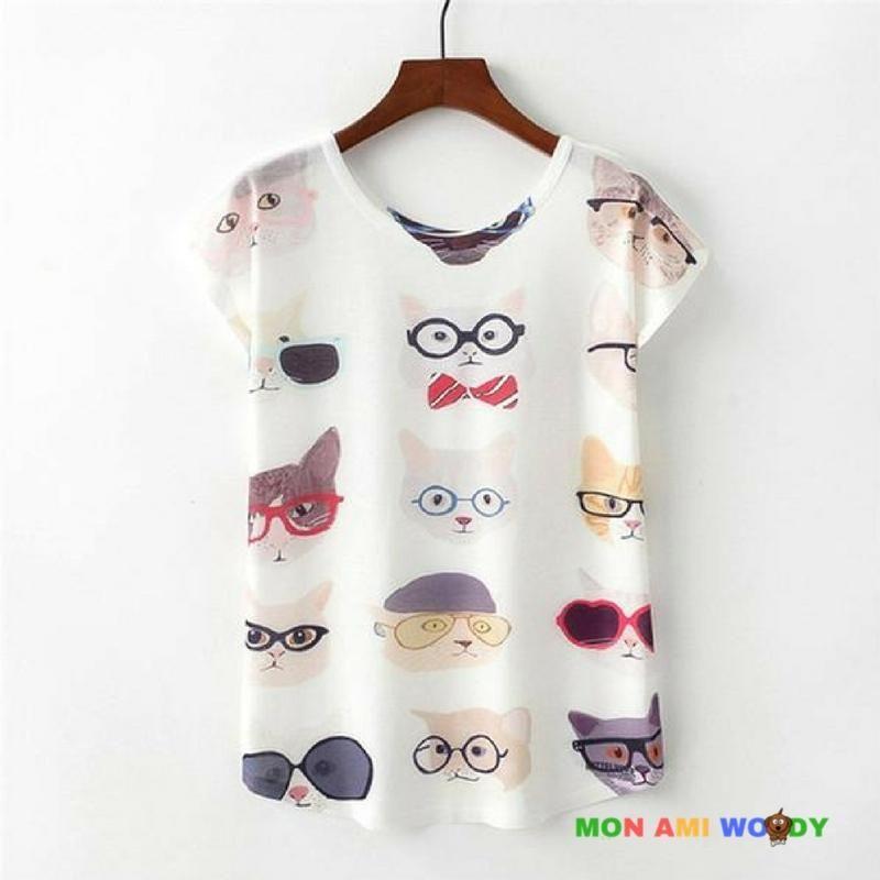T-Shirt Femmes ABsoar Manche Courte Blouse Impression de Chat Tees Grande Taille Shirt Chic Tunique L/âche Chemisier Dames V/êtements pour Ete Hauts Crop Top
