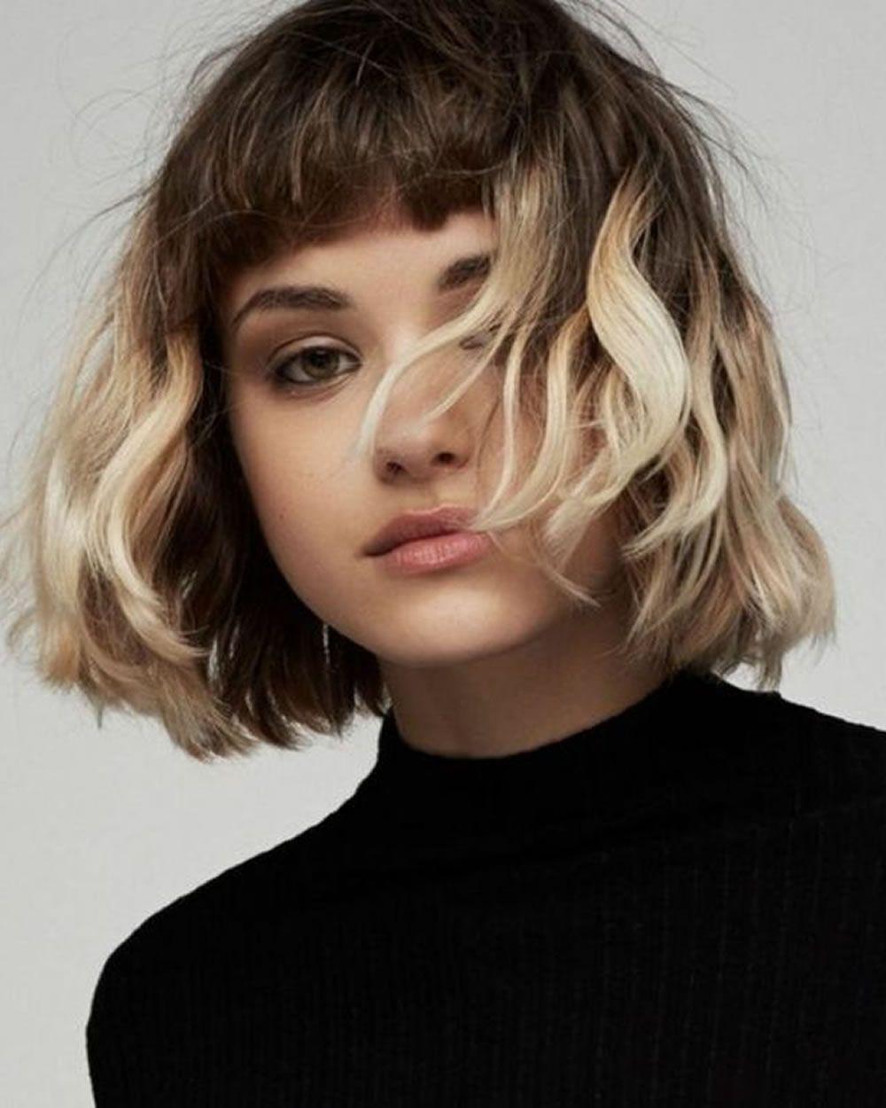 balayage asymmetrische curly bob frisuren | frisuren, bob