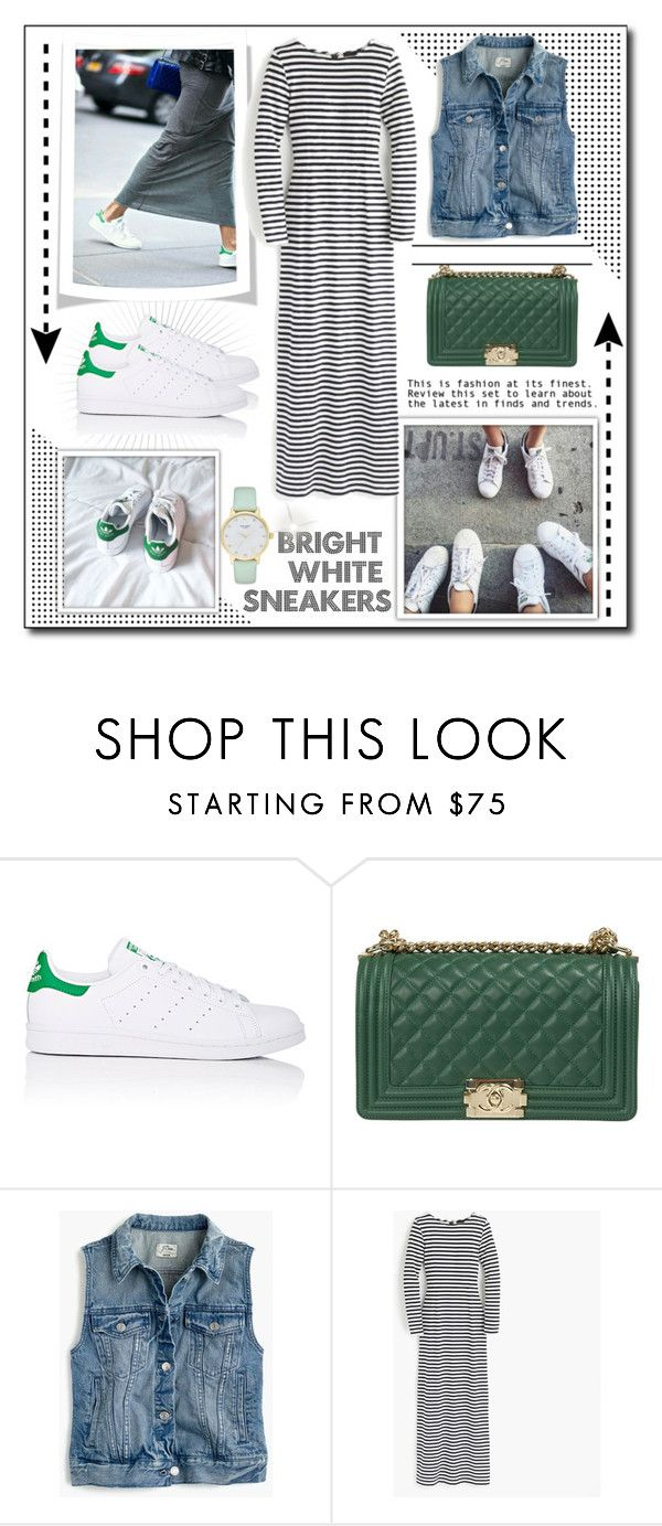 """""""Bright white sneakers"""" by artia2 ❤ liked on Polyvore featuring adidas, Chanel, J.Crew, Kate Spade, whitesneakers, stansmith and brightwhitesneakers"""