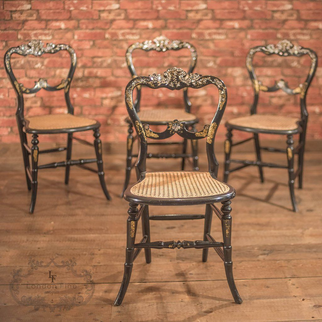 This is a set of 4 Victorian, antique dining chairs dating back to the  century. - Victorian Set Of Four Antique Dining Chairs, Lacquered Antique