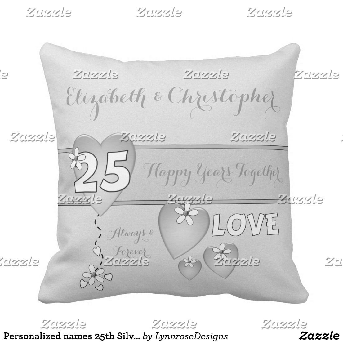 Personalized names th silver anniversary pillow cushion zazzle