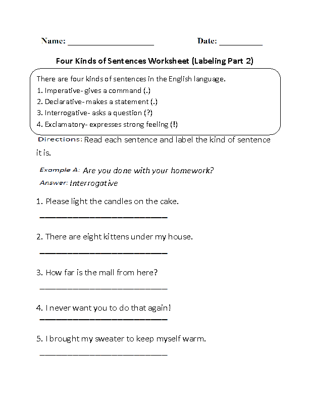 Different Kinds of Sentences Worksheet – Declarative Sentence Worksheet