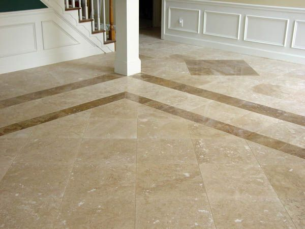 Tiles With Darker Travertine Border And Diamond Accents Foyer