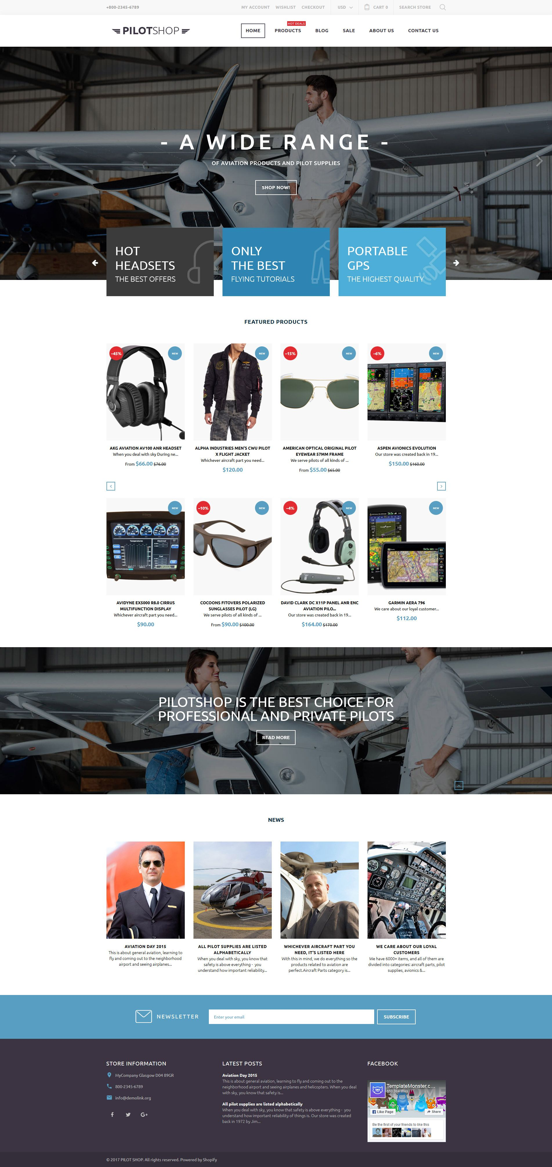 PilotShop Pilot Supplies Responsive Shopify Theme Fonts - Shopify website templates