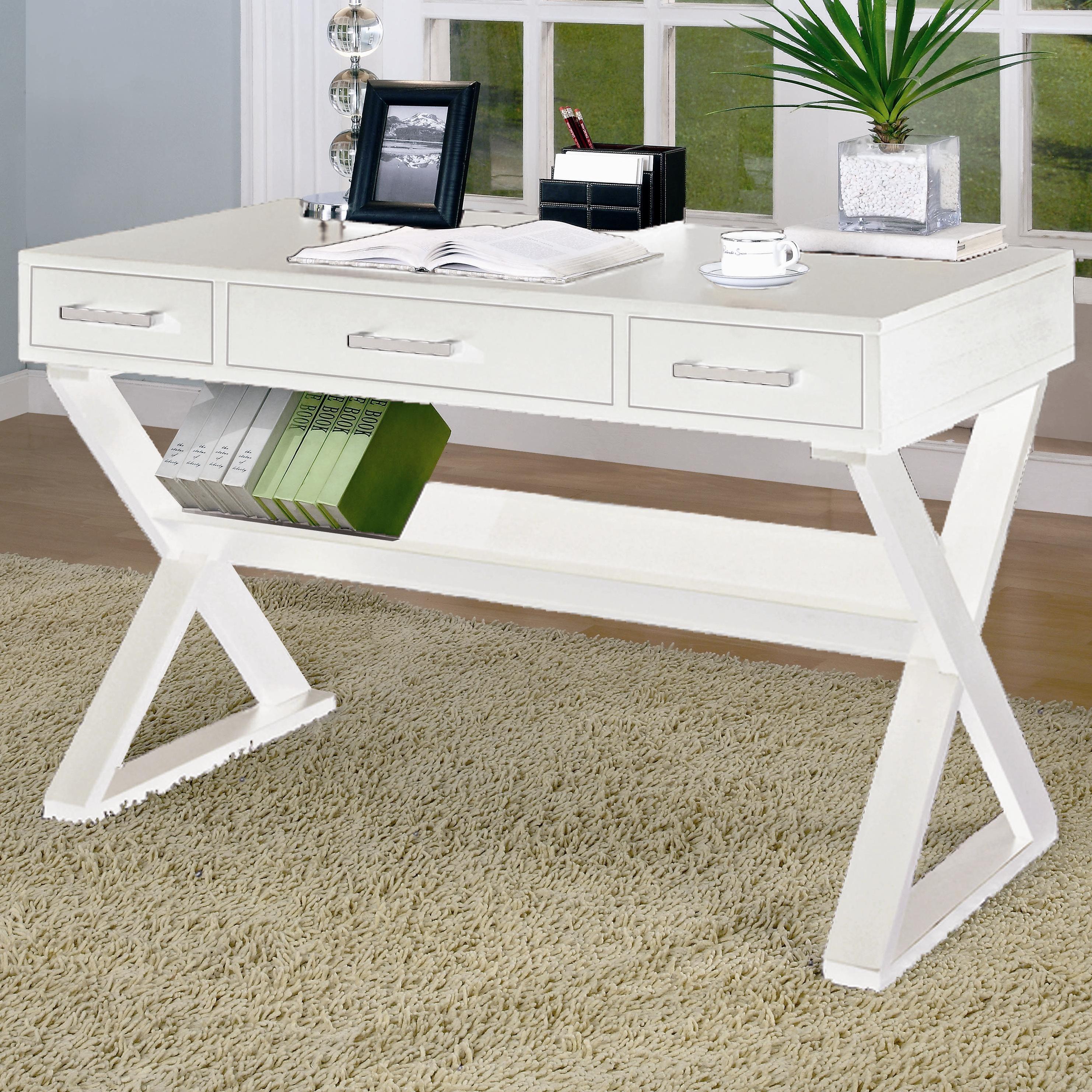 Coaster Desks Casual 3 Drawer Desk With Criss Cross Legs Fine Furniture
