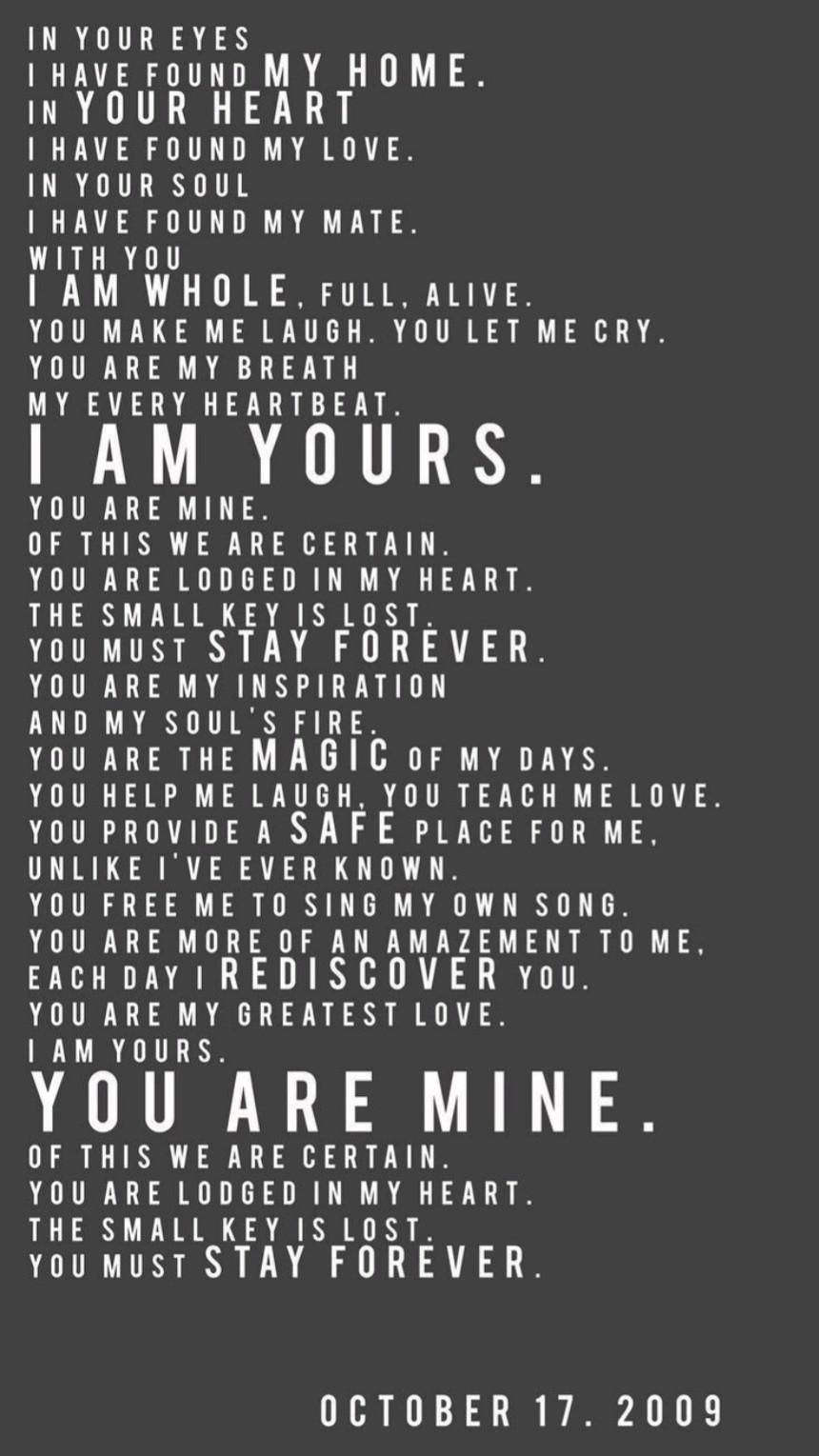I Am Yours & You Are Mine💙