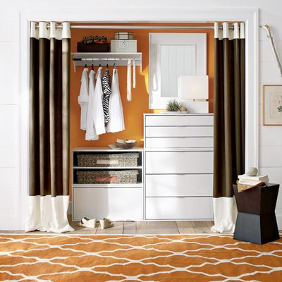 Double Curtains Over Alcove To Make Closet Completely Remove