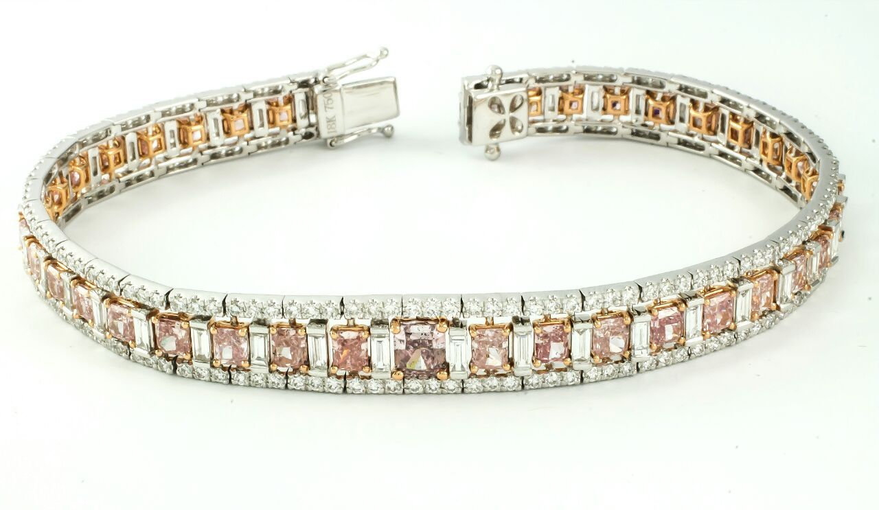 k gold fancy pink diamonds surrounded by white diamonds bracelet