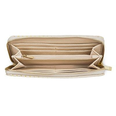 Women's Faux Leather Wallet with Zip Closure Ivory - Merona, Pink