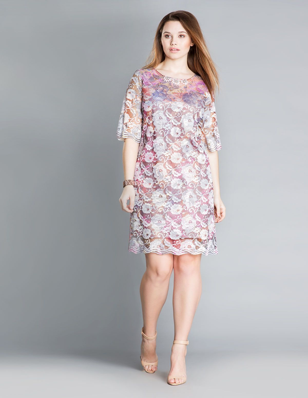 Idea piu embellished lace dress in pink versicolour curvy