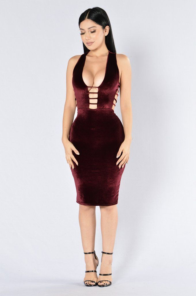 c8a63107ee8 Strappy cutout bodycon gorgeous red velvet dress