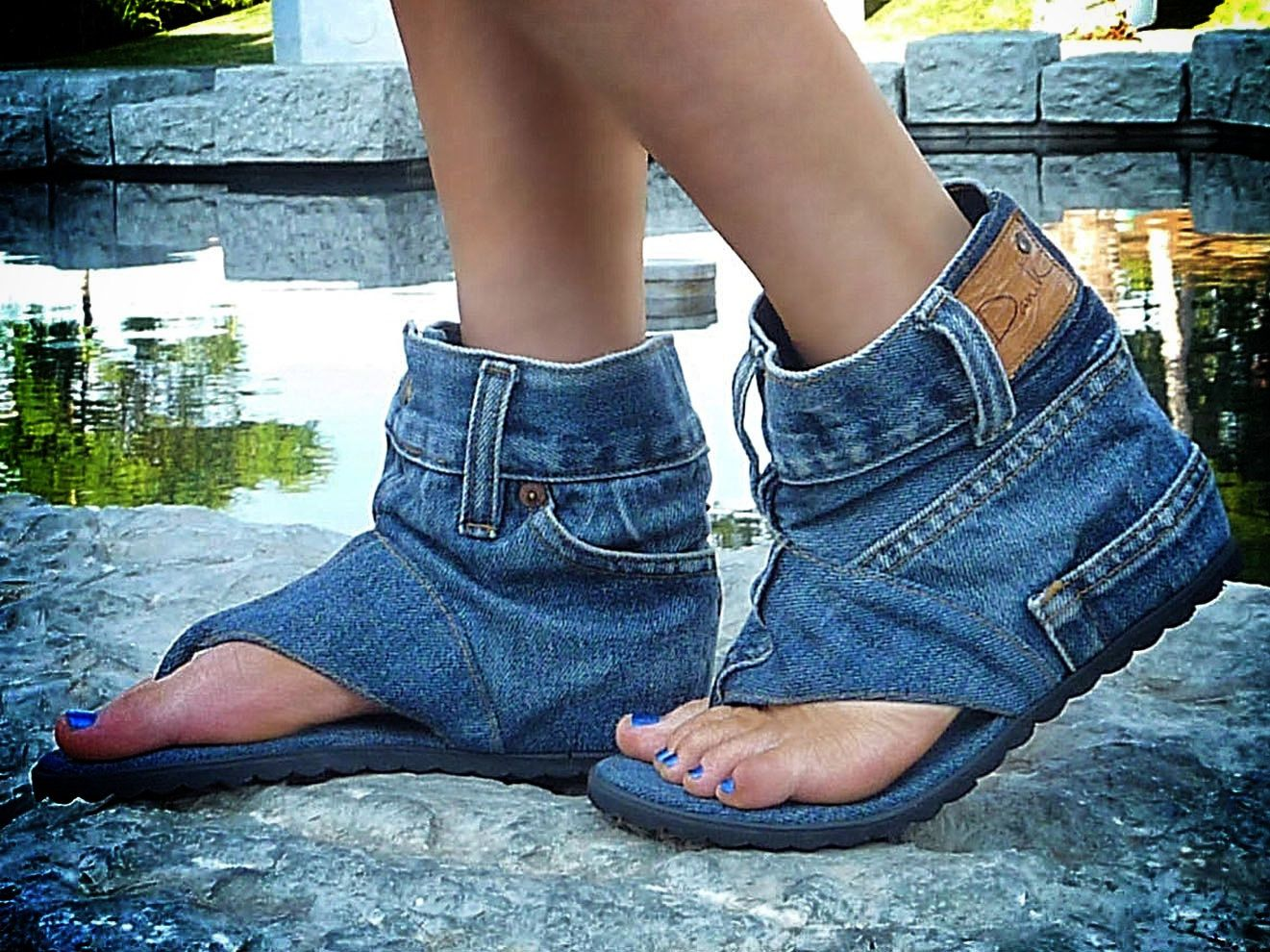 2eab91e05 Denim Shoes  Ferociously Funky Sandals Made From Vintage Jeans ...