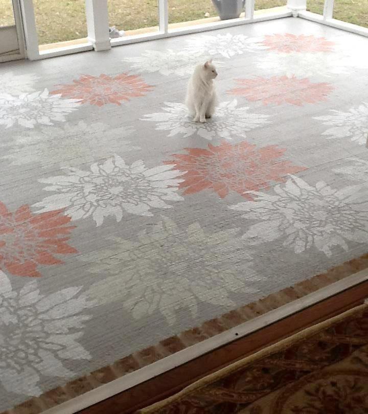 Concrete floor stenciled by Melva Kroll.  Stencil from Cutting Edge Stencils