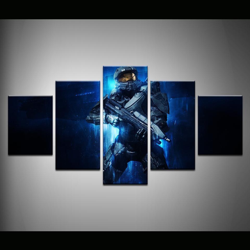 Halo Master Chief 5 Panel Canvas Print Wall Art In 2021 Canvas Wall Art Gaming Wall Art Wall Prints