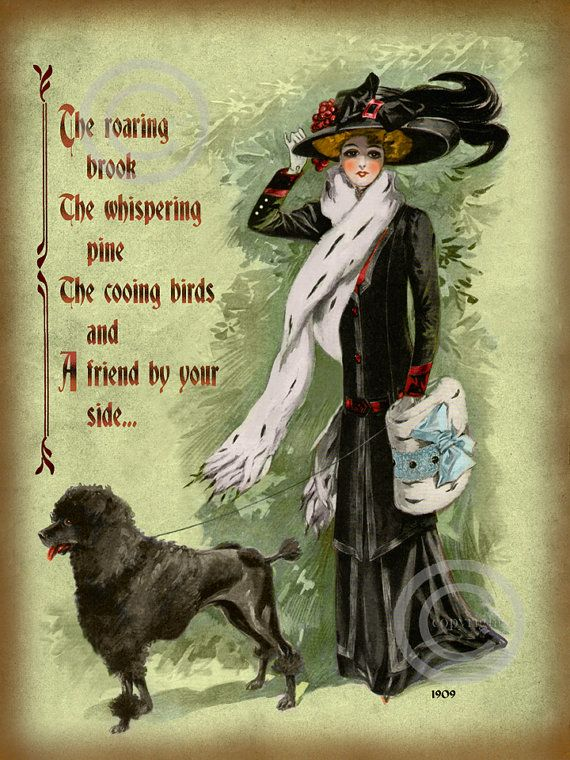 Victorian Lady with Poodle Dog Motto Print, Friend by your side ...