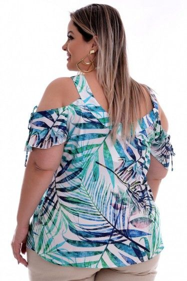 bd59fe3dfe63 Blusa Plus Size Mil Folhas | Blusas | Fashion, Plus size e Dresses
