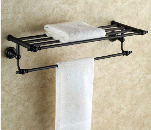 Euro Elegant Bathroom Hotel Oil Rubbed Bronze Shelf Towel Rack