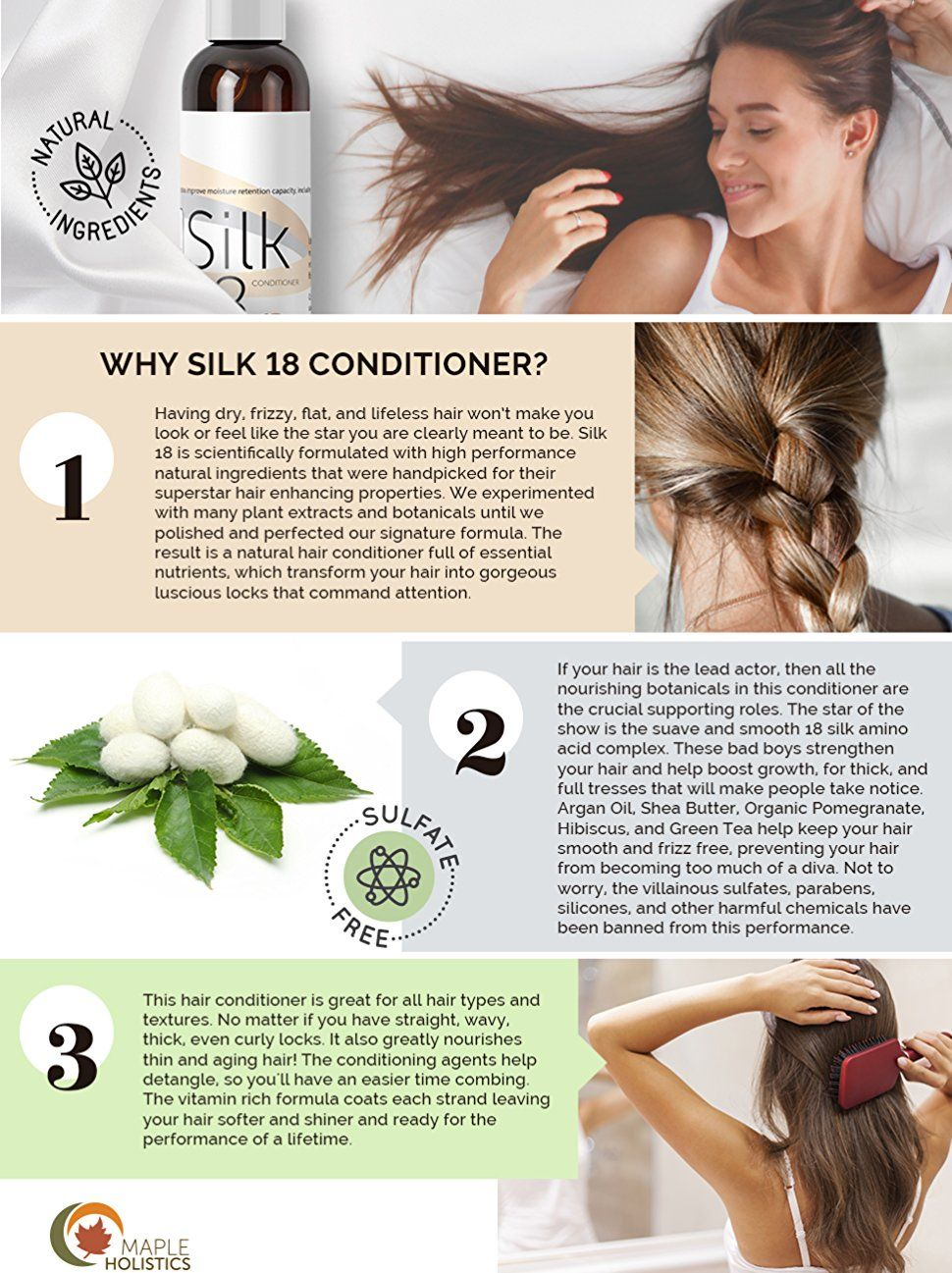 Amazon.com : Silk18 Natural Hair Conditioner Argan Oil Sulfate Free  Treatment for Dry and