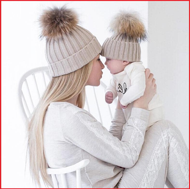 Mom and Baby Matching Knit Fur Pom Pom Winter Hat Set