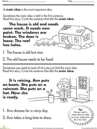 Story Comprehension What S The Main Idea Main Idea Worksheet Reading Main Idea Speech And Language