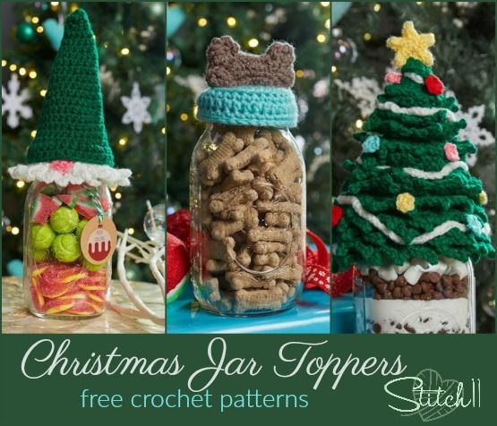 Toppers For Your Mason Jars Stitch11 Christmas Jars Christmas Crochet Holiday Crochet