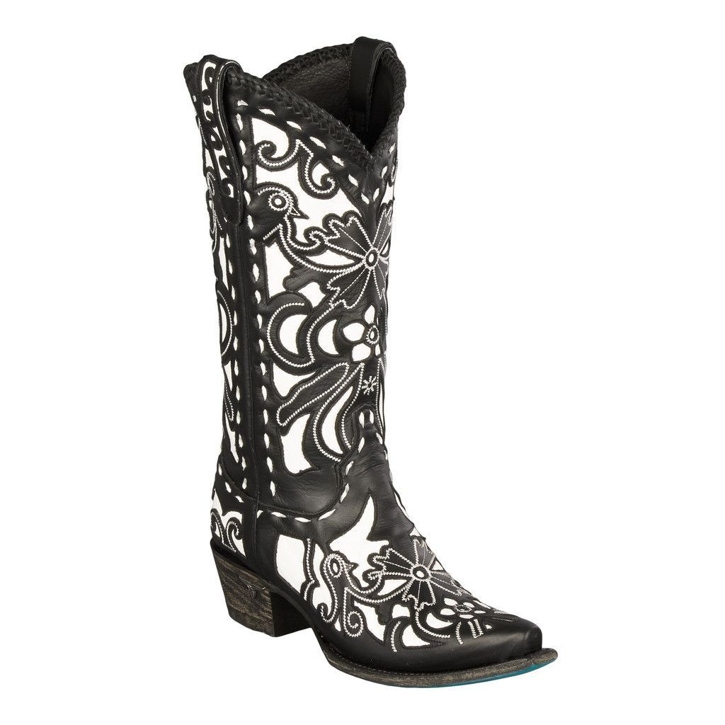 Black and White Robin- Lane Cowgirl Boots