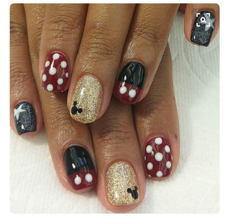 Simple Mickey Mouse Nail Art Disney Disneynailart Disneynails Nailart Disney Nails Disneyland Nails Mickey Nails