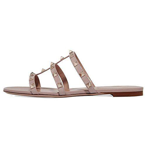 c3184bff1670 VOCOSI Women s Flat Heel Sandals with Rivets Slide Slipper Dress for Casual  Summer Nude 11.5 US