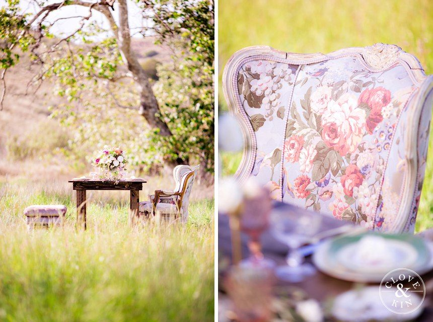 We LOVE this antique floral chair!   Mission Trails Styled Shoot | Inspiration Session  Photography by Clove & Kin | View more: http://cloveandkin.com/blog/mission-trails-styled-shoot-san-diego-inspiration-session/
