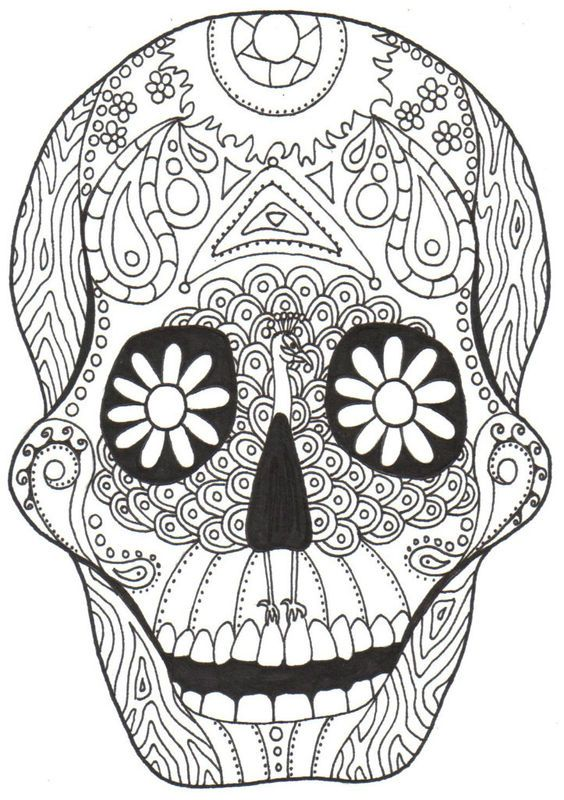 Day of the Dead mask printable coloring page Enjoy Coloring