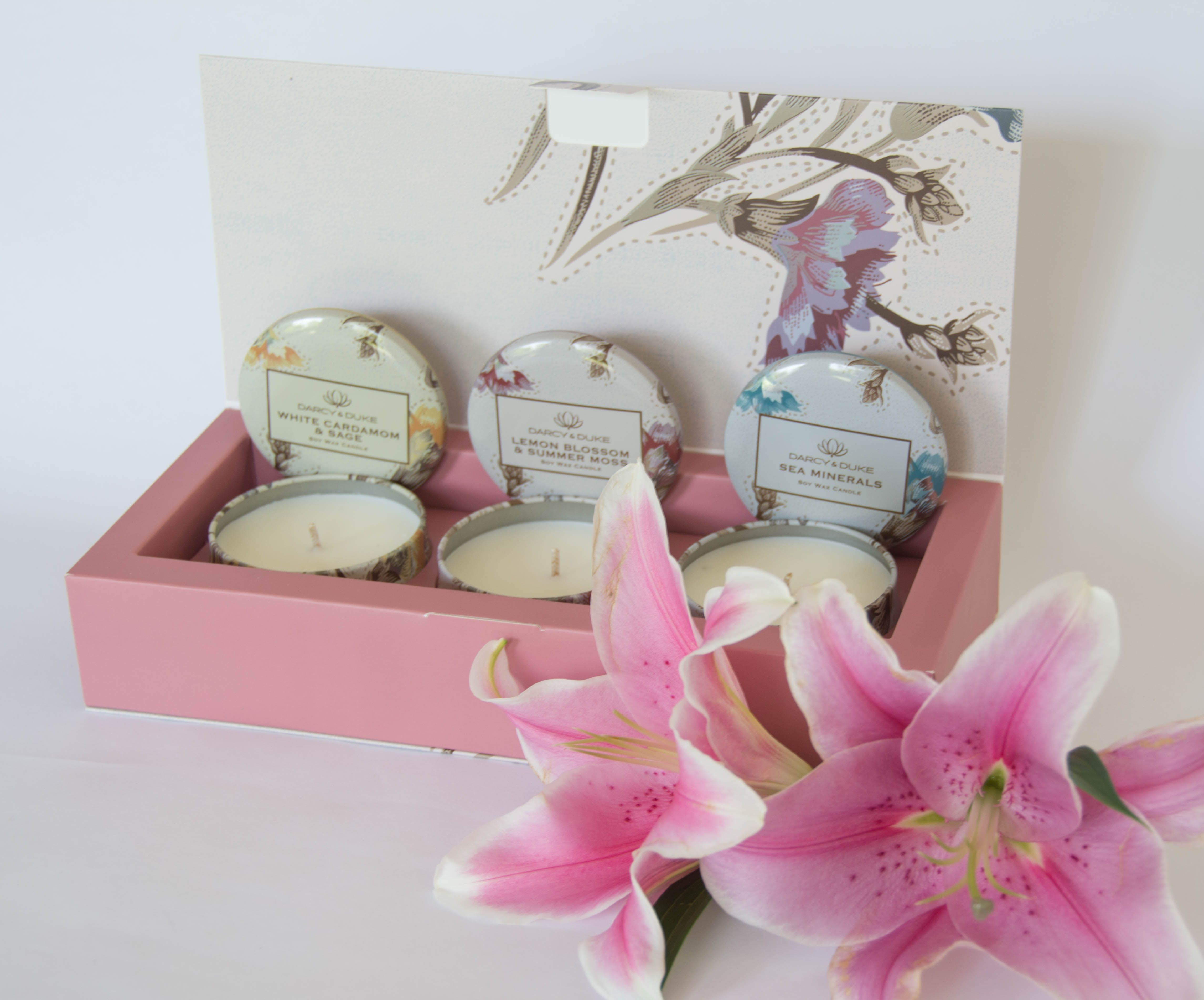 Three mini scented natural soy candles, by Darcy & Duke. A great way ...