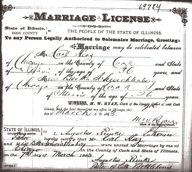 Marriage License of Carl HERZ and Bertha SCHWICHTENBERG   Marriage ...