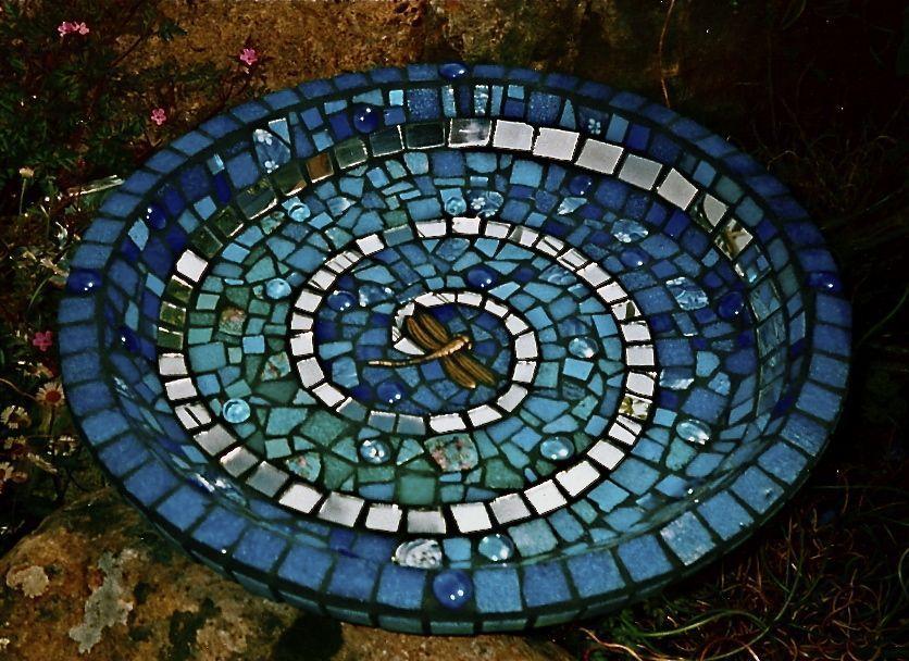Mosaic Patterns For Bathrooms: Dragonfly Spiral Birdbath