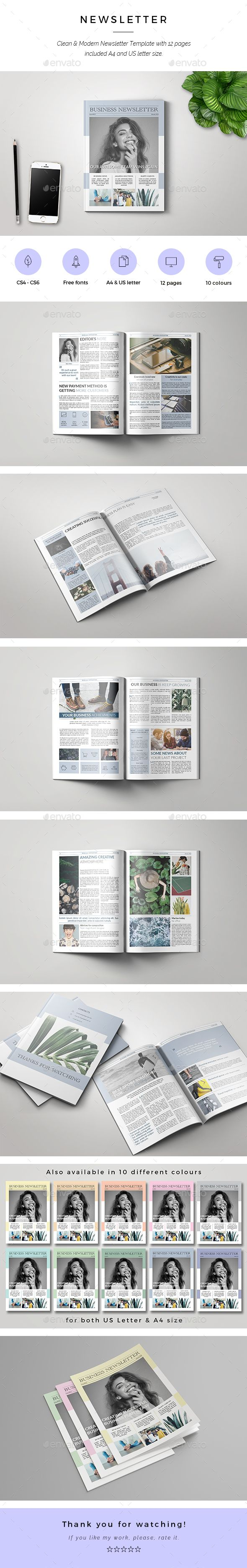 Business Newsletter Template InDesign INDD 12